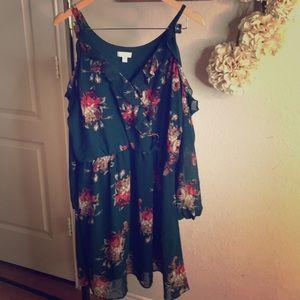 Cold Shoulder floral dress- Size XL